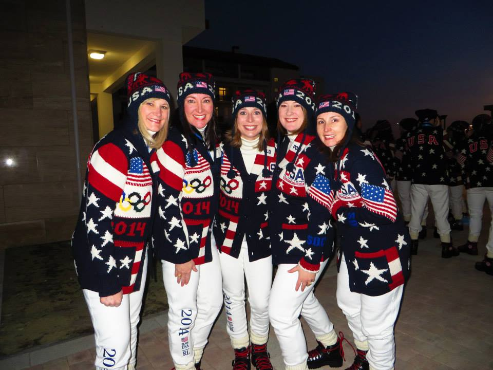 Team USA's women's curling team at the Opening Ceremonies in Sochi. (US Olympic Team)